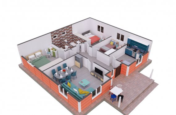 100 m2 Egyszintes panelház