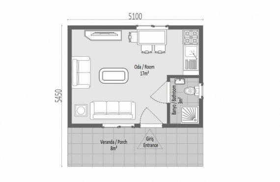 28 m2 Egyszintes panelház