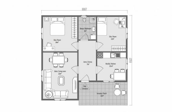 82 m2 Egyszintes panelház