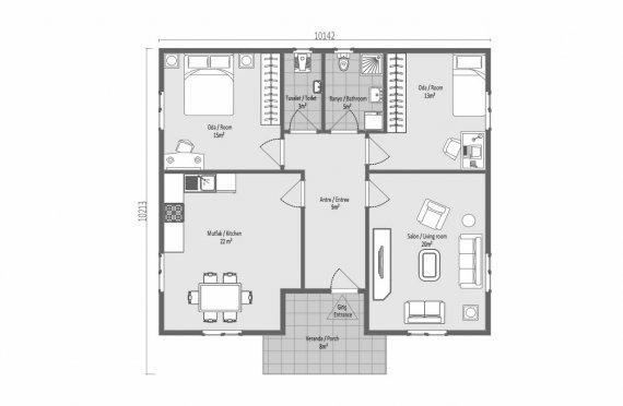 95 m2 Egyszintes panelház