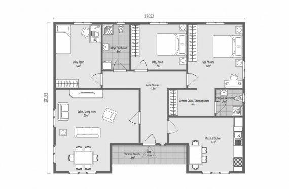 123 m2 Egyszintes panelház