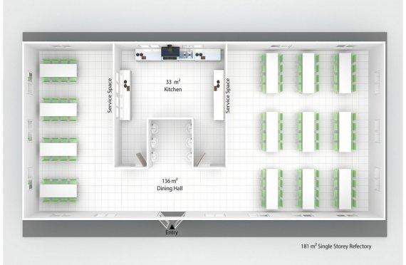 Előregyártott Kereskedelmi Konyha 181 m²