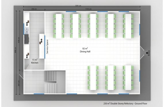 Előregyártott Kereskedelmi Konyha 250 m²