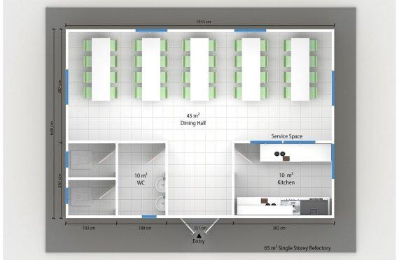 Előregyártott Kereskedelmi Konyha 65 m²