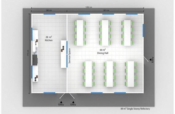 Előregyártott Kereskedelmi Konyha 89 m²