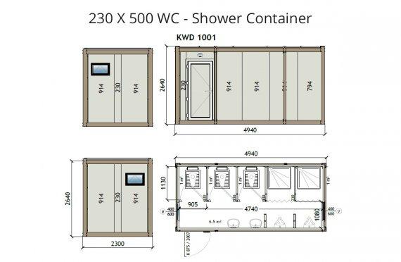 KW6-230x500Wc Zuhanyzó Konténer