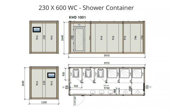 KW6230x600Wc Zuhanyzó Konténer
