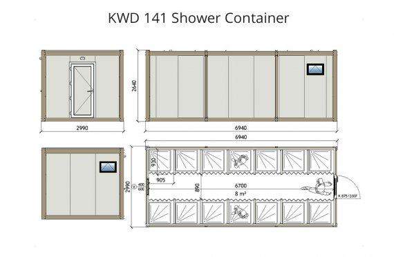 KWD-141 Zuhanyzó Konténer
