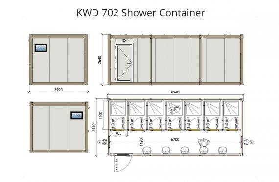 KWD-702Zuhanyzó Konténer